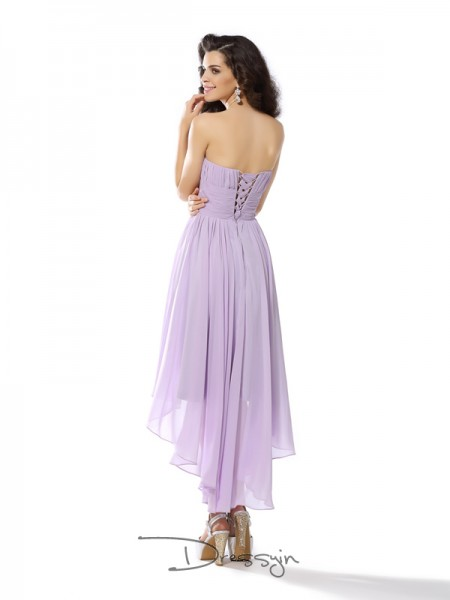A-Line/Princess Sleeveless Chiffon Hand-Made Flower Sweetheart Asymmetrical Dresses