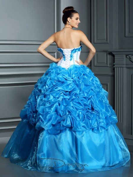 Ball Gown Sleeveless Satin Ruffles Sweetheart Floor-Length Dresses