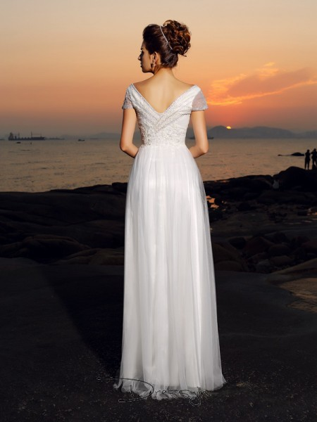 A-Line/Princess Short Sleeves Tulle Beading Off-the-Shoulder Floor-Length Wedding Dresses