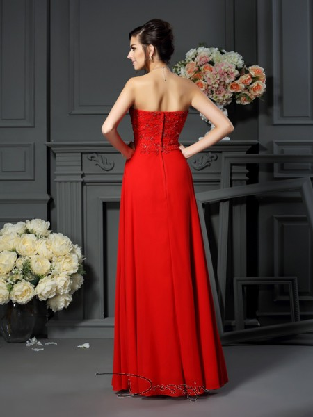 A-Line/Princess Sleeveless Chiffon Beading Sweetheart Floor-Length Mother of the Bride Dresses