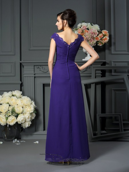 A-Line/Princess Sleeveless Chiffon Beading V-neck Floor-Length Mother of the Bride Dresses