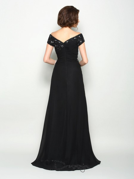 A-Line/Princess Short Sleeves Chiffon Off-the-Shoulder Long Mother of the Bride Dresses