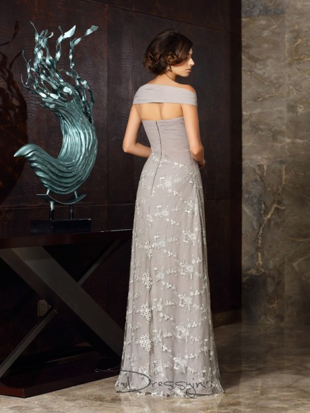 A-Line/Princess Sleeveless Chiffon Applique Off-the-Shoulder Floor-Length Mother of the Bride Dresses