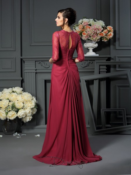 A-Line/Princess 1/2 Sleeves Chiffon Applique Scoop Floor-Length Mother of the Bride Dresses