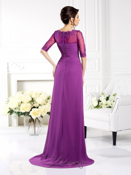 Sheath/Column 1/2 Sleeves Chiffon Applique Scoop Sweep/Brush Train Dresses