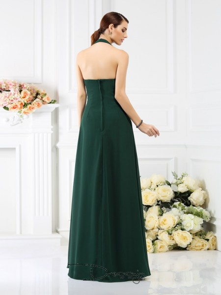 A-Line/Princess Sleeveless Chiffon Beading Halter Floor-Length Bridesmaid Dresses