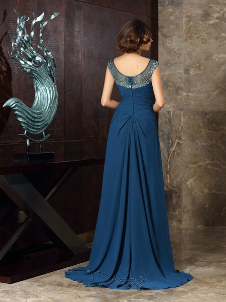 A-Line/Princess Sleeveless Chiffon Beading Scoop Sweep/Brush Train Mother of the Bride Dresses