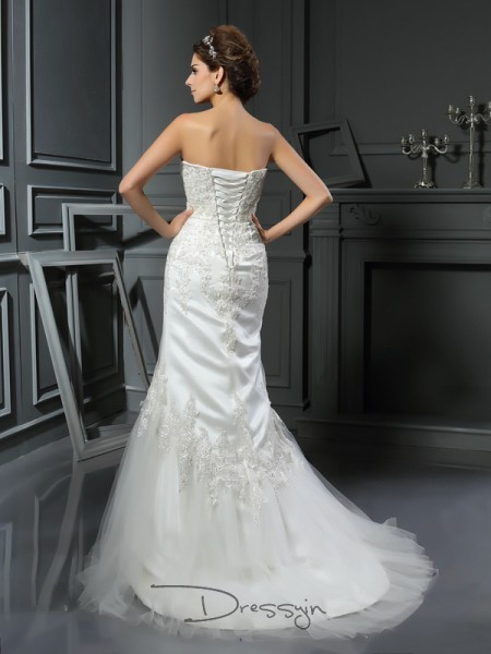 Trumpet/Mermaid Sleeveless Applique Satin Court Train Straps Wedding Dresses