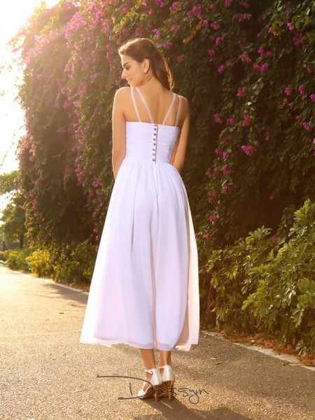 A-Line/Princess Sleeveless Beading Chiffon Ankle-Length V-neck Wedding Dresses