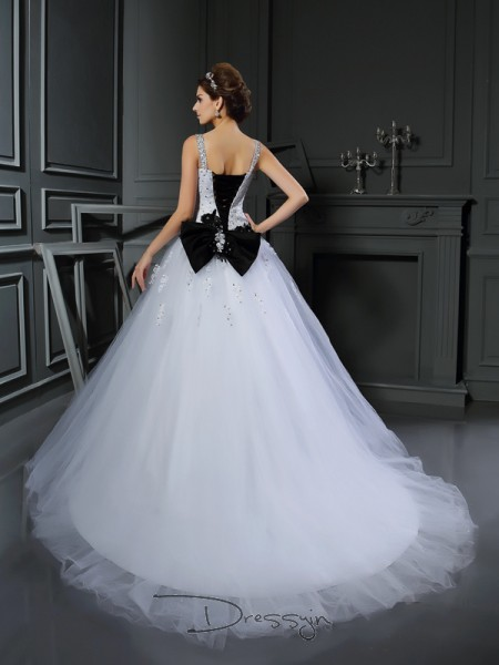 Ball Gown Sleeveless Beading Applique Tulle Chapel Train Straps Wedding Dresses