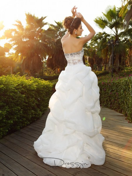 A-Line/Princess Sleeveless Beading Organza Asymmetrical Sweetheart Wedding Dresses
