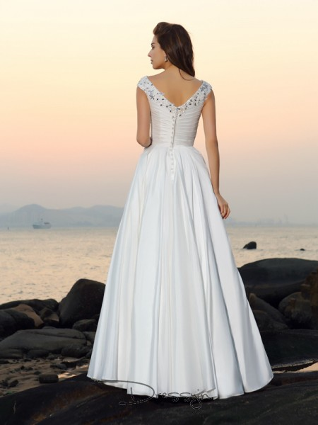 A-Line/Princess Sleeveless Beading Applique Taffeta Floor-Length V-neck Wedding Dresses