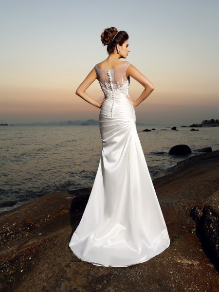 Trumpet/Mermaid Sleeveless Beading Applique Satin Sweep/Brush Train Scoop Wedding Dresses
