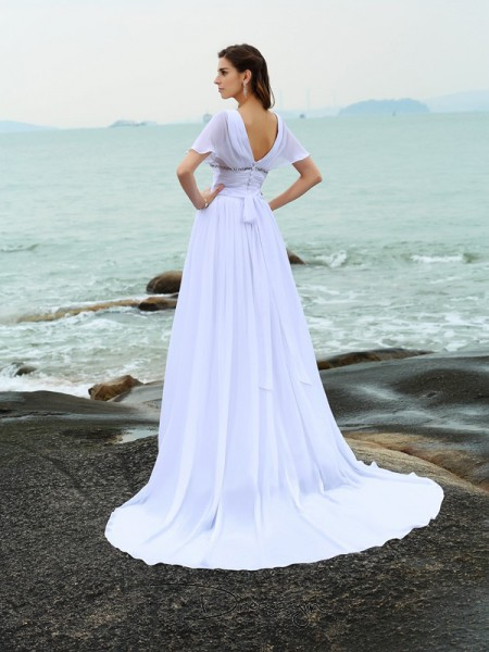 A-Line/Princess Short Sleeves Ruffles Chiffon Court Train V-neck Wedding Dresses