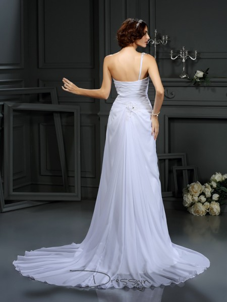 A-Line/Princess Sleeveless Pleats Chiffon Court Train One-Shoulder Wedding Dresses