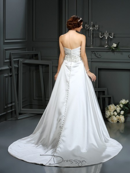 A-Line/Princess Sleeveless Beading Satin Court Train Strapless Wedding Dresses