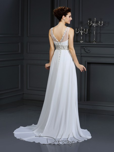 A-Line/Princess Sleeveless Ruffles Chiffon Chapel Train Bateau Wedding Dresses