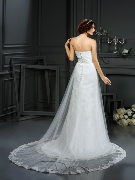 A-Line/Princess Sleeveless Pleats Net Court Train Sweetheart Wedding Dresses