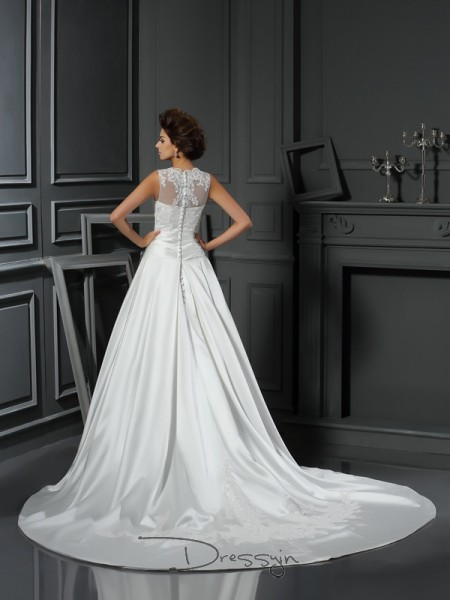 A-Line/Princess Sleeveless Applique Satin Chapel Train High Neck Wedding Dresses
