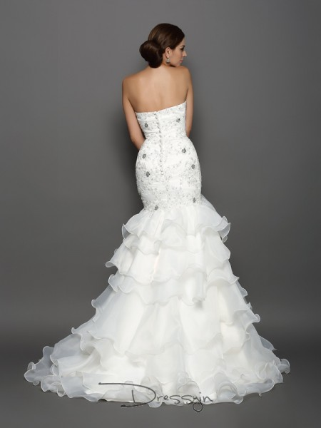 Trumpet/Mermaid Sleeveless Beading Applique Organza Chapel Train Sweetheart Wedding Dresses