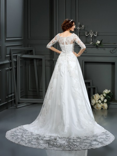 A-Line/Princess 1/2 Sleeves Lace Satin Court Train Bateau Wedding Dresses