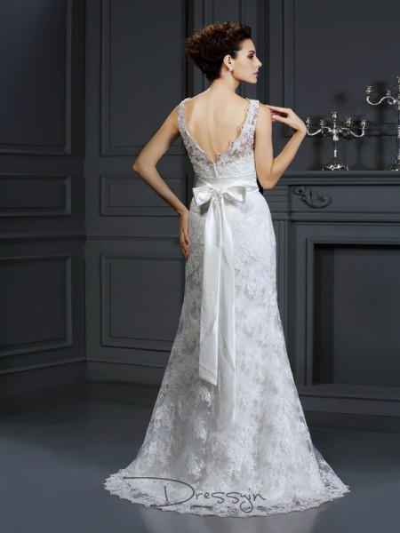 Trumpet/Mermaid Sleeveless Applique Lace Chapel Train Sweetheart Wedding Dresses