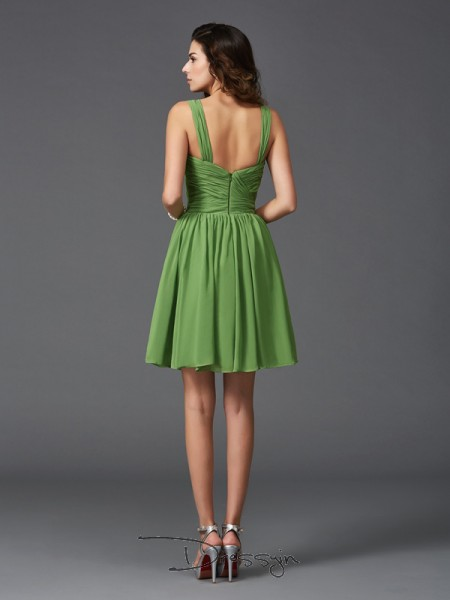 A-Line/Princess Sleeveless Ruffles Short/Mini Silk like Satin Straps Bridesmaid Dresses
