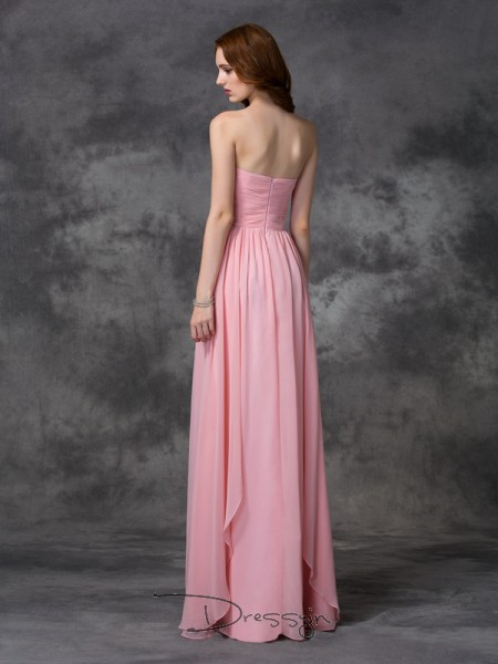 A-Line/Princess Sleeveless Ruffles Floor-length Chiffon Sweetheart Bridesmaid Dresses