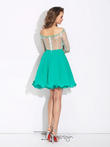 A-Line/Princess 1/2 Sleeves Beading Short/Mini Chiffon Off-the-Shoulder Dresses