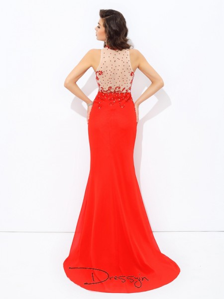 Sheath/Column Sleeveless Beading Sweep/Brush Train Chiffon Jewel Dresses