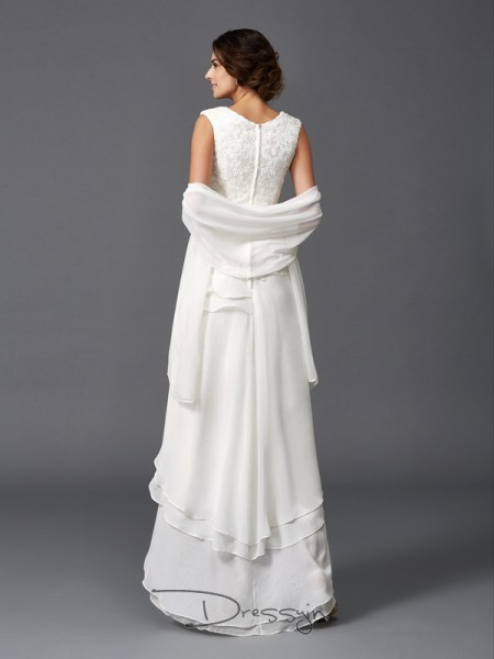 A-Line/Princess Sleeveless Lace Asymmetrical Chiffon Scoop Mother of the Bride Dresses