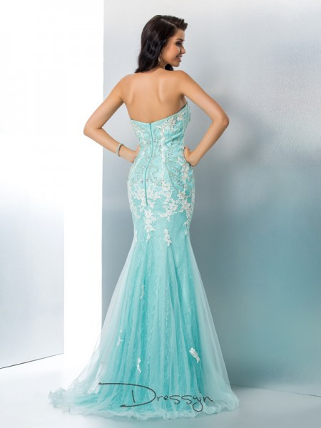Trumpet/Mermaid Sleeveless Applique Floor-Length Lace Strapless Dresses