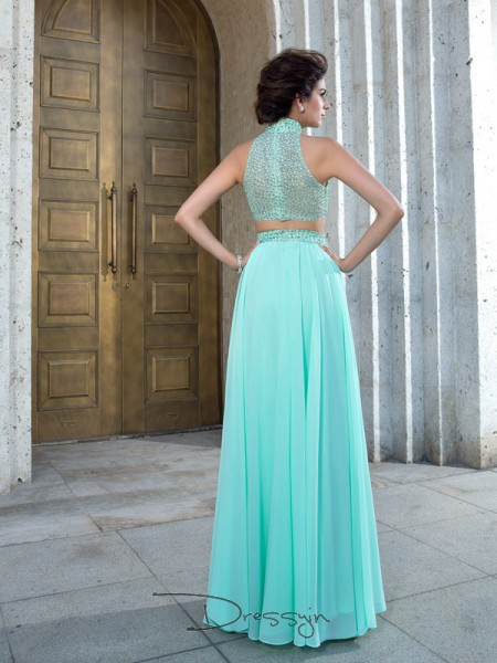 A-Line/Princess Sleeveless Beading Floor-Length Chiffon High Neck Dresses