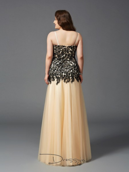 Sheath/Column Sleeveless Applique Floor-Length Net Spaghetti Straps Plus Size Dresses