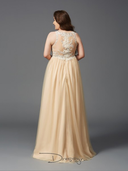 A-Line/Princess Sleeveless Rhinestone Floor-Length Net Scoop Plus Size Dresses