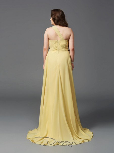 A-Line/Princess Sleeveless Rhinestone Sweep/Brush Train Chiffon One-Shoulder Plus Size Dresses
