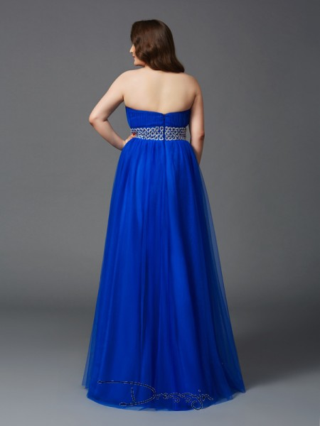 A-Line/Princess Sleeveless Rhinestone Floor-Length Net Strapless Plus Size Dresses