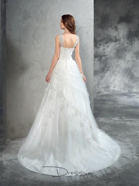 Ball Gown Sleeveless Applique Court Train Net Straps Wedding Dresses