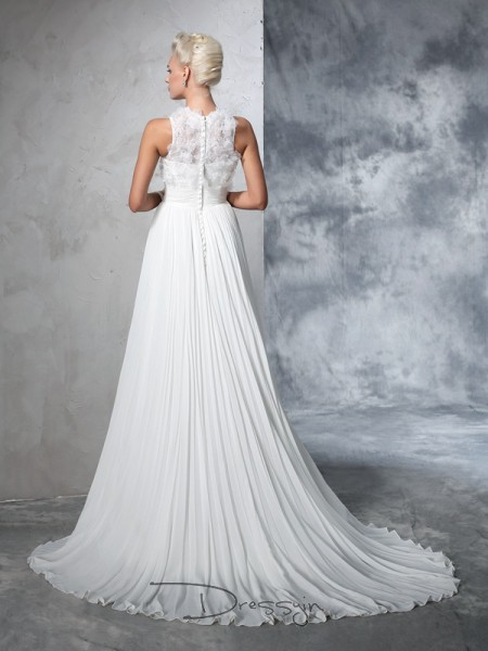 A-Line/Princess Sleeveless Pleats Court Train Chiffon High Neck Wedding Dresses