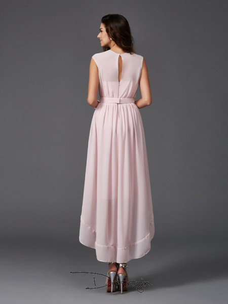 A-Line/Princess Sleeveless Sash/Ribbon/Belt Asymmetrical Chiffon Scoop Bridesmaid Dresses