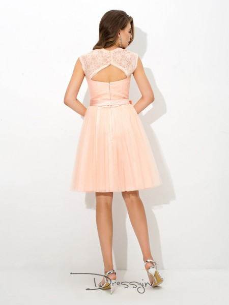A-Line/Princess Sleeveless Sash/Ribbon/Belt Short/Mini Net Straps Bridesmaid Dresses