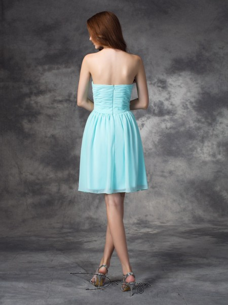 A-Line/Princess Sleeveless Ruffles Short/Mini Chiffon Sweetheart Bridesmaid Dresses