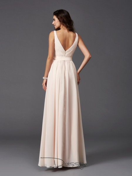 A-Line/Princess Sleeveless Sash/Ribbon/Belt Floor-Length Chiffon Straps Bridesmaid Dresses