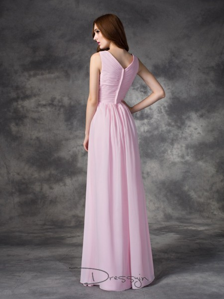 A-Line/Princess Sleeveless Hand-Made Flower Floor-length Chiffon V-neck Bridesmaid Dresses