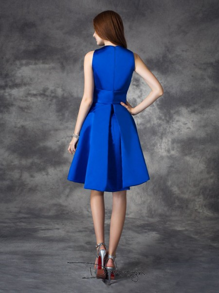 A-Line/Princess Sleeveless Ruched Short/Mini Satin V-neck Bridesmaid Dresses