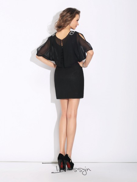 A-Line/Princess 1/2 Sleeves Beading Short/Mini Chiffon Jewel Dresses