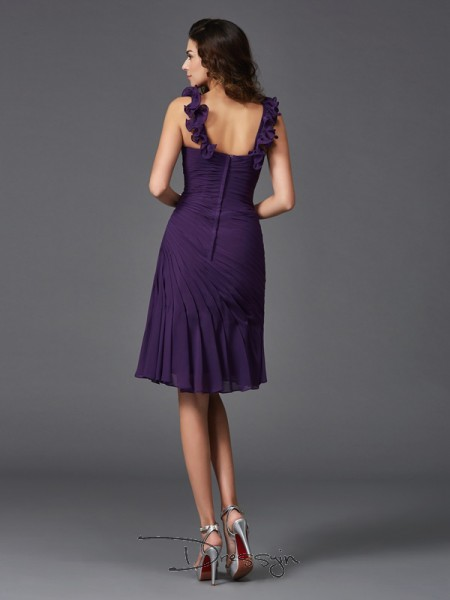 Sheath/Column Sleeveless Ruched Short/Mini Chiffon Straps Dresses