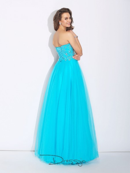 A-Line/Princess Sleeveless Rhinestone Floor-Length Satin Sweetheart Dresses