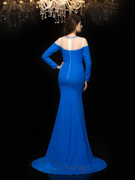 Sheath/Column Long Sleeves Beading Floor-Length Chiffon Jewel Dresses