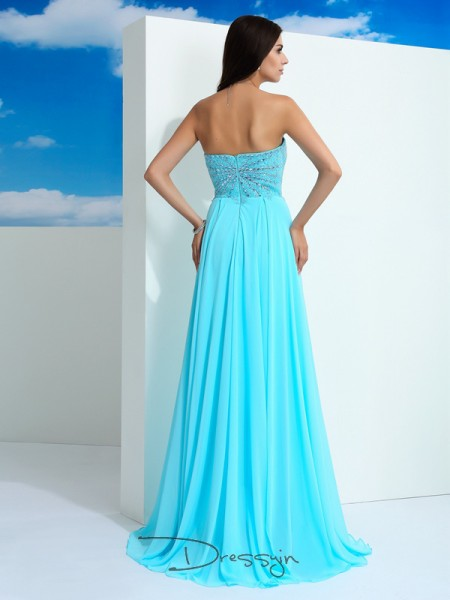 A-Line/Princess Sleeveless Beading Floor-Length Chiffon Sweetheart Dresses